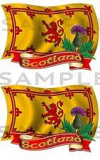 Rampante Lion único Thistle X 2 Kit De Etiquetas De Coche Camión Van Moto Barco Caja De Herramientas