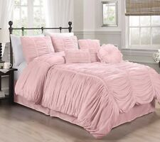 Chezmoi Collection Chic Ruched Ruffle Textured Comforter Set, White, Pink, Gray
