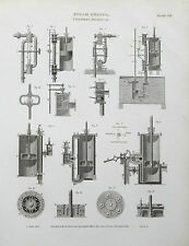 1818 Steam Engine Cylinders & Pistons Antique Print Engraving Rees
