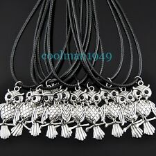 Lot 5pcs fashion silver owl leather cord necklace XL448