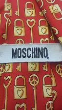 "Moschino, Red/Gold, Peace is the Key to the Heart, Silk, Novelty, Tie (59"")"