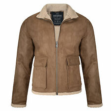Threadbare New Men Laser Synthetic Suede Jacket Borg Lined Collar Fashion Coat