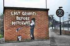 Banksy Last Graffiti Before Motorway Boy A4 Sign Aluminium Metal