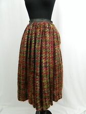Bonnie Cashin Sills Vintage Red Green Plaid Tweed Pleated Boho Skirt Small