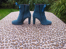 Ravel Turquoise Blue suede leather lace up ankle boots Size UK 5 EU 38