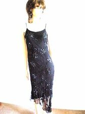 BLUNAUTA BLACK  SILK ASYMMETRICAL BEADED  EVENING   DRESS SIZE S
