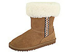 NEW RSVP Tan Suede Leather Sheepskin Wool LIned Winter Boots Womens 9 9.5 NIB
