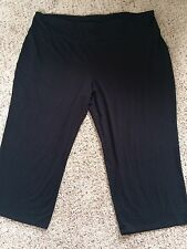 WOMENS BLACK STRETCH KNIT CAPRI PANTS PLUS SZ 3X