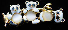 GOOD LUCK MOONSTONE CATS EYE BAMBOO PANDA BEAR FAMILY PIN BROOCH JEWELRY 1 3/4""