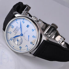 Parnis 43mm Power Reserve Seagull 2530 Automatic White dial mens Watch 1207