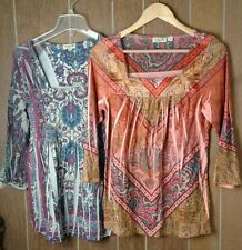 LOT of 2 Women's One World Boho Paisley Floral Dyed Blouse 3/4 Sleeves Size S