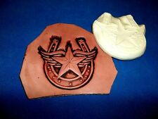 """Winged Star in Horseshoe Leather Emboss Plate  3 1/2"""" x 3 1/4"""""""