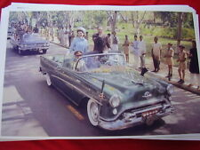 1954 OLDSMOBILE CONVERTIBLE WITH JACKIE KENNEDY  11 X 17  PHOTO PICTURE