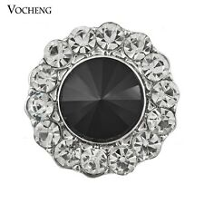 Vocheng 18mm Black&White Crystal Snap Button Jewelry Vn-124