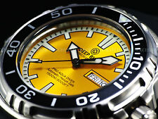 New Deep Blue 45mm Pro Aqua Automatic Sapphire Crystal 1500M Yellow Dial Watch