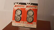 Vintage Dynamic Models Inc #686 Slot Car Chrome Drag Wheels/Tires Blems 2 Pair !
