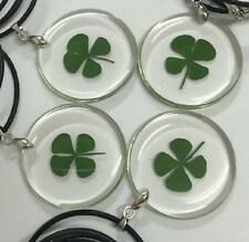 4 PCS Real Four-Leaf Clover Love Lucid Round Pendan Good Lucky Necklace