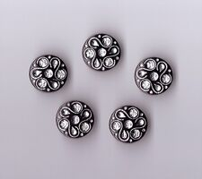 BLACK DIAMANTE EFFECT SHANK BUTTONS  SIZE 28 X 5 - BRIDAL,GOTHIC,FASHION,- (CX7)