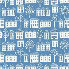 Lewis & Irene Town & Country Blue Cottages Cotton Fabric