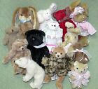Lot of 14 Jointed Animals Tan White Red Black Stuffed Crafting Dolls Wangs Ty ++