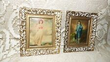 VINTAGE PINKIE AND BLUE BOY PICTURE SET ORNATE GOLD/WHITE FRAMES