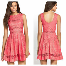Club L Simply Fab Size 16 Coral Lace Skater DRESS Party Occasion Evening Be £62