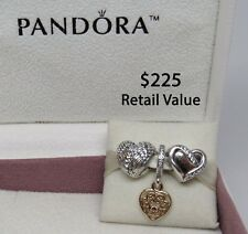 New w/Box Pandora Gift Set of 3 Gold & Silver Charms Magnificent Heart Angel