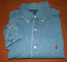 Ralph Lauren Polo DENIM JEAN Chambray Light Indigo Blue Shirt XL Red Pony
