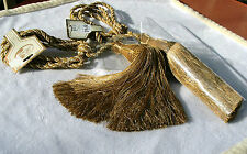 """Drapery Curtain Gold MixTie Backs Ribbons and Bling Window Treatment 12""""Tassels"""