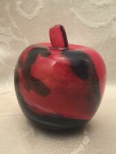 """Art Glass Paperweight Apple Signed Swirl Red Blue HandMade Norway Grier 3 1/2"""""""