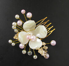 Gold White Blush Pink Leaf Hair Comb Pearl Bridal Vine Grecian Headpiece Vtg 215