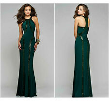 New Ladies Women Ball Gown Prom Party Formal Celeb Green Long Maxi Dress Size 14