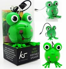 Kitsound Mini Buddy Portable Wired Speaker 4 Apple Samsung LG Tablet - Frog