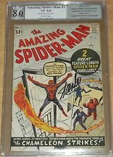 AMAZING SPIDERMAN #1 PGX 8.0 NOT CGC SIGNED BY STAN LEE WHITE PAGES MARCH 1963