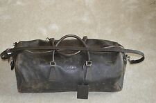 Prada Vintage Brown Leather Mens Holdall Weekend Gym Bag Lock/Key Zip Unisex