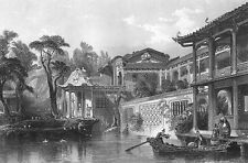 China RICH MANDARIN MANSION VILLA LATTICE, 1842 Architecture Art Print Engraving