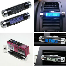 Time Thermometer Celsius Digital LED Backlight Air Car Vent Clip Digital Clock