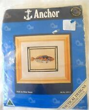 ANCHOR NAUTICAL DESIGNS TAPESTRY KIT FISH IN BLUE HUES COUNTED TAPESTRY STITCH