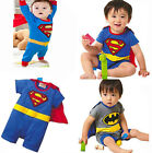 Hot Superman Batman Costume Baby Romper Outfit Boy Kid Jumpersuit Size 0-24Month