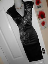 **STUNNING** JANE NORMAN SIZE 10 BLACK SATIN FLORAL CHINESE DRESS *FAST POSTAGE*