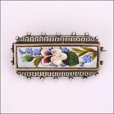 Victorian Silver Enamel Pansy and Forget-me-not Sentimental Brooch