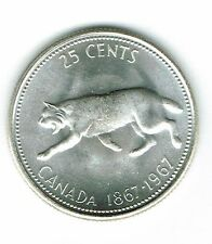 1967 Canadian Brilliant Uncirculated Business Strike Silver 25 Cent coin!