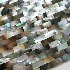 luxury strip black mother of pearl groutless shell mosaic tile backsplash