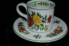 VTG VILLEROY&BOSH SUMMERDAY GERMANY 2 FLAT BOTTOM TEA CUP SAUCER SETS