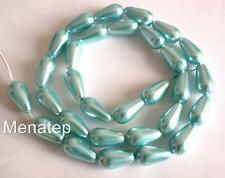 50 6x4mm Czech Glass Pearl Coated Drops: Aqua