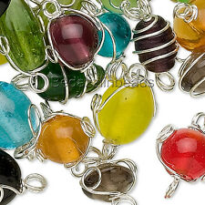 50 Assorted Color Size & Shape Silver Wire Wrapped Glass Link Beads with Loops