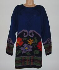 BNWT Laura Ashley vintage Winter 92 hand knitted 100% wool intarsia jumper, L