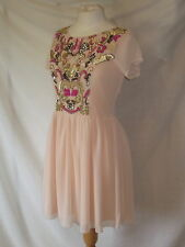 New Pale Baby Pink MAYA Sequinned Cocktail Party Dress size 12 Semi Sheer