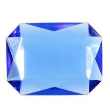 (1) large 40mm Czech vintage sapphire blue octagon faceted glass rhinestone
