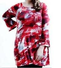 NEW QUALITY MARINA KANEVA RED ROSE FLORAL TUNIC ~ TOP  SIZE 30/32